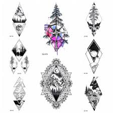 Us 039 10 Off105x6cm Triangle Compass Temporary Tattoo Women Arm Hill Totem Stickers Men Tatoos Forearm Rhombus Tree Fake Tattoo Mirror Moon In