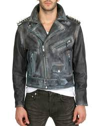 this kin and gin leather jacket 1 853 is hand painted with gold colored studs along the shoulders and back jimi hendrix is printed on the back panel and