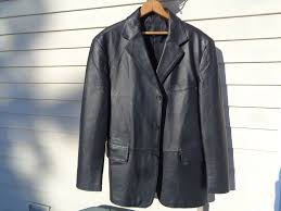 details about mens black leather blazer jacket sportcoat l or 40 42