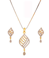 rs jewellers gold plated american diamond pendant set with chain rs jewellers gold plated american diamond pendant set with chain in india on
