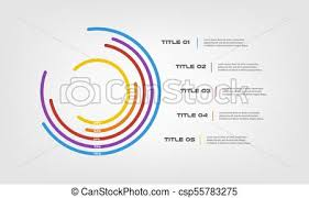 Circular Chart Color Infographics Step By Step In A Series Of Circle Element Of Chart Graph Diagram With 5 Options Parts Processes Vector