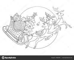 Kerst Slee Met Rendieren Kleurplaten Van Vector Stockvector