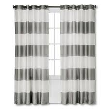 threshold bold stripe grey lined curtain panel 54 x 84 new