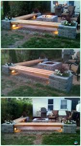 garden fire pit. DIY Propane Fire Pit \u0026 Corner Benches With Landscape Lighting And Pillars Planters Garden