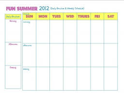 Summer Daily Schedule Template Weekly Schedule Template For Kids Freeletter Findby Co