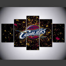 5 pieces hd cleveland cavaliers canvas painting wall art prints home decor custom ball picture 5 on cleveland cavaliers wall art with 5 pieces hd cleveland cavaliers canvas painting wall art prints home