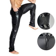 plus size y high elastic shiny tight pvc leather pants glossy punk stage pencil pants mens performance wear oori16956