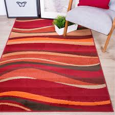 warm red brown burnt orange waves rug quality small large xl area mats uk