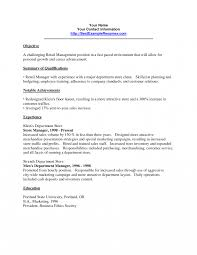 Objectivesor Retail Resumes Job Sample Manager Resume Management