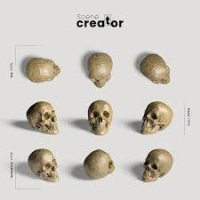 Free PSD | Realistic <b>skull</b> variety of angles <b>halloween scene</b> creator