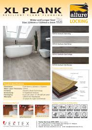 xl plank 1 product resilient flooring 2 brand allure locking 3 technology german technology 4 specification 100 virgin vinyl