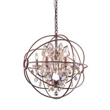 elegant lighting geneva 6 light rustic intent chandelier with golden teak smoky crystal