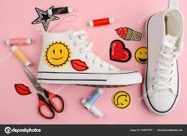 Custom Design Threads Custom Design For White Sneakers Stock Photo Ygphoto