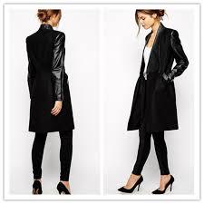 celeb style european women s warm pu leather sleeve wool jacket coat parka trench black winter autumn outwear coat pa657268