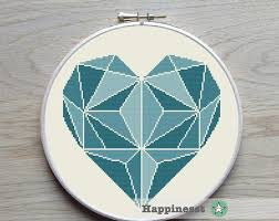 Modern Cross Stitch Patterns Inspiration Etsy Cross Stitch Geometric Modern Cross Stitch Pattern Heart