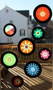 stained glass tissue paper window hangers