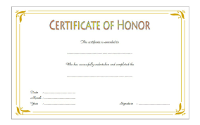 Certificate Of Honor Template Honor Certificate Template Word Free 1 One Package