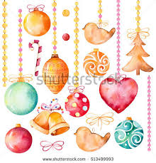 Hand Decorated Christmas Balls Watercolor Collection 100 High Quality Hand Stock Illustration 86