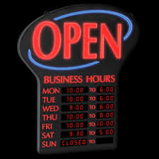 Neon Open Sign With Hours
