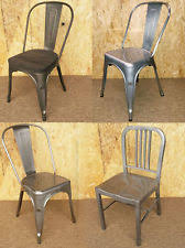 french bistro chairs metal. tolix emeco metal chairs brushed steel tarnished galvanised retro french bistro french bistro chairs metal