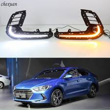 2018 Hyundai Elantra Daytime Running Lights Us 65 55 24 Off Cscsnl 2pcs For Hyundai Elantra 2016 2017 2018 Led Drl Daytime Running Lights Abs Fog Lamp Cover With Turn Yellow Signal Lamp In Car