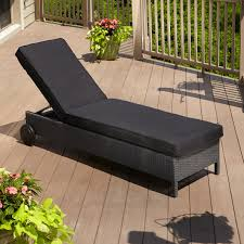view in gallery belladonna black resin wicker outdoor patio chaise lounge chair and cushion
