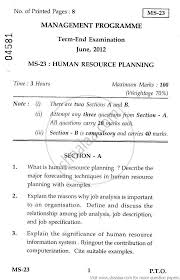 human resource planning management management human resource planning 2012 management management programme mba university exam indira