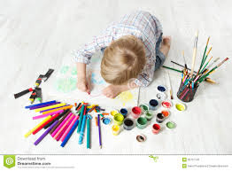 Drawingcolor Child Drawing Color Picture In Album Royalty Free Stock Photo