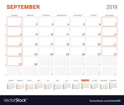 Callendar Planner September 2019 Calendar Planner For 2019 Year