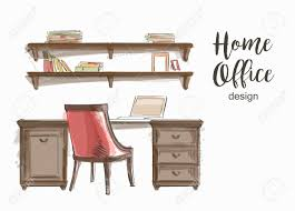 home office work table. Set Of Hand Drawn Classic Home Office Interior Work Table Wooden Shelf Chair Vector Sketch Stock O