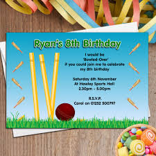 8th Birthday Party Invitations 10 Personalised Cricket Birthday Party Invitations N46