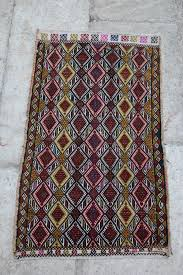 red and green handmade turkish tribal rug flat woven with wool