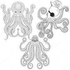 Sada Tetování Chobotnice Ručně Tažené Zentangle Kmenové Chobotnice