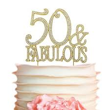 Amazoncom 50fabulous Gold Birthday Cake Topper 50th Party
