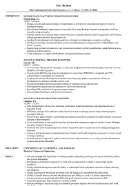 Sample Resume For Process Engineer Manufacturing Process Engineer Resume Samples Velvet Jobs
