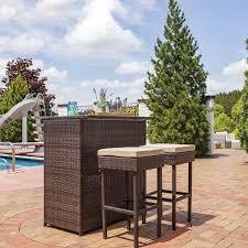 3 piece patio bar set. Fine Set Elizabethtown 3Piece Wicker Rattan Outdoor Patio Bar Set Throughout 3 Piece E