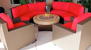 round gas fire pit table round patio table fire pit with wicker patio furniture and red