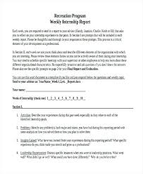 Internship Report Sample Amazing Weekly Report Internship Form Template Evaluation Example Tangledbeard