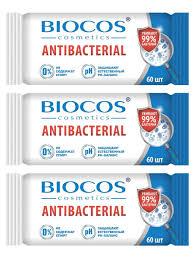 <b>Biocos влажные</b> антибактериальные <b>салфетки</b> 60 шт - 3 ...