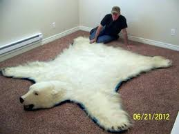 faux polar bear rug fur with head