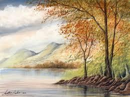 Video By The Lake Watercolour Tutorial Autumn Woodland Lake Mountains Scene