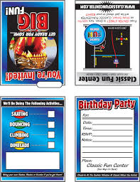 birthday party invitations classic fun center invitation