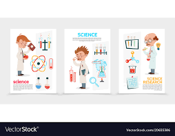 Science Research Posters Flat Scientific Research Posters Royalty Free Vector Image