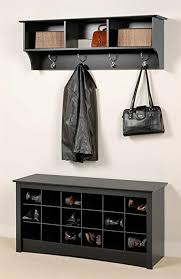 Wall Coat Rack With Storage Adorable Amazon Prepac Entryway Wall Mount Coat Rack W Shoe Storage
