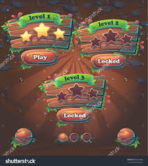 Free Design Games Wooden Game User Interface Window Levels Vector Illustration