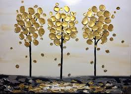modern extra large painting tree abstract fine art acrylic textured gold black canvas painting ready to hang by pierre montene painting by pierre montene