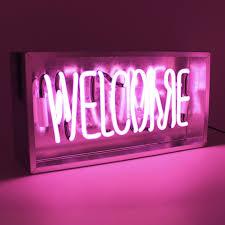 Light Neon Pink Acrylic Box Neon Pink Welcome