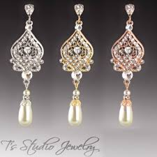 chandelier pearl bridal earrings in silver gold or rose gold