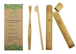 Soft Bristles BPA Free <b>Bamboo Toothbrushes</b> and Cases, <b>Natural</b>