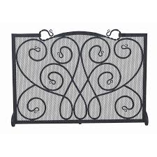 entertaining uniflame single panel curved pewter fireplace screen